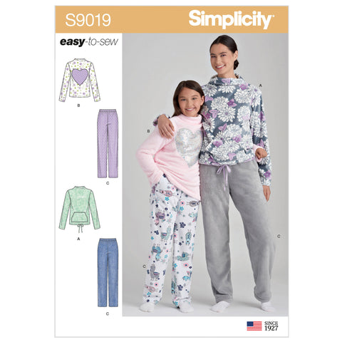 Simplicity Sewing Pattern S9019 - Girls' & Misses' Loungewear
