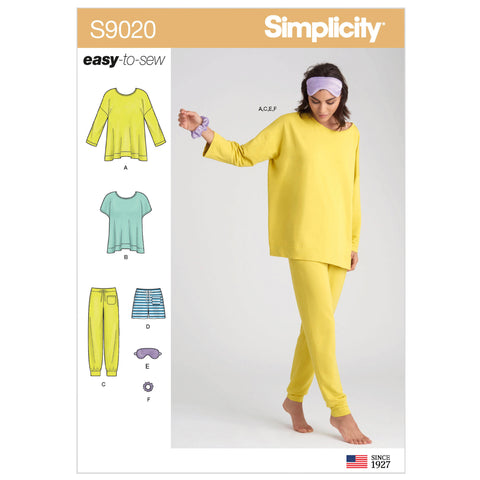 Simplicity Sewing Pattern S9020 - Misses' Sleepwear Knit Tops, Pants, Shorts & Accessories