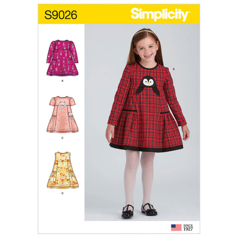 Simplicity Sewing Pattern S9026 - Children's Animal Applique Pocket Dress
