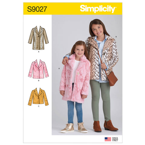 Simplicity Sewing Pattern S9027 - Children's & Girls' Lined Coat