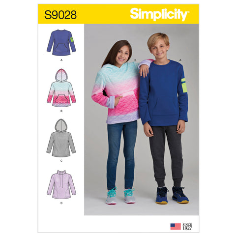 Simplicity Sewing Pattern S9028 - Girls' & Boys' Knit Tops with Hoodie