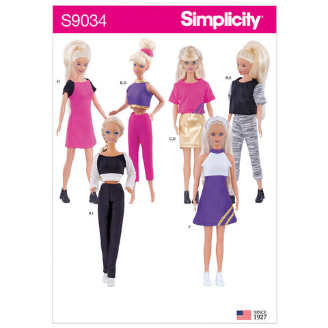 "Simplicity Sewing Pattern S9034 - 11 1/2"" Doll Clothes"