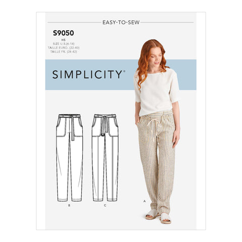 Simplicity Sewing Pattern S9050 - Misses' Pull On Pants With Pockets