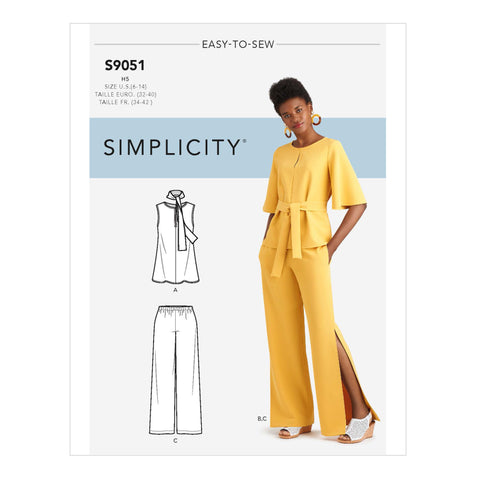Simplicity Sewing Pattern S9051 - Misses' Tops, Belt or Scarf & Pants