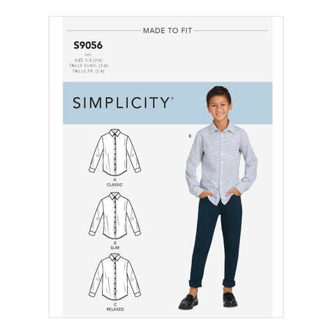 Simplicity Sewing Pattern S9056 - Children's & Teen Boys' Shirts