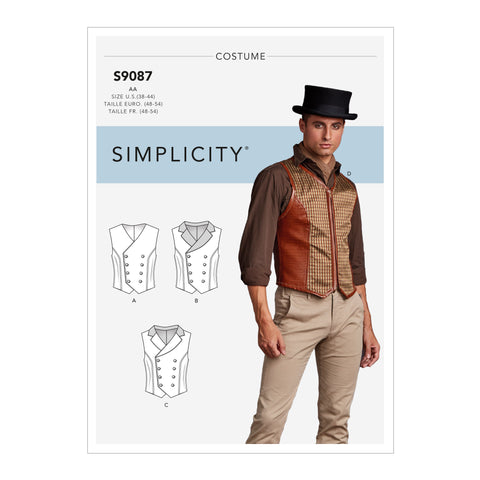 Simplicity Sewing Pattern S9087 - Men's Steampunk Corset Vests