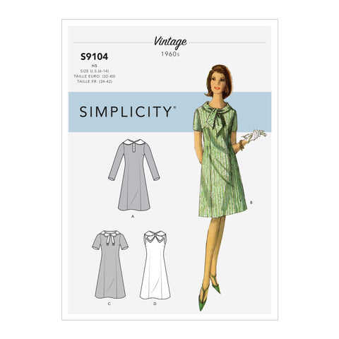 Simplicity Sewing Pattern S9104 - Misses' Vintage Dresses With Sleeve & Neckline Variation