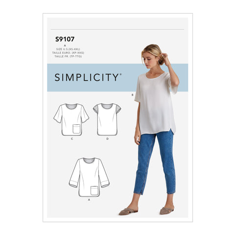 Simplicity Sewing Pattern S9107 - Misses' Tops With Sleeve & Length Variation