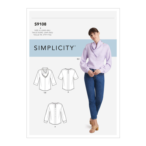 Simplicity Sewing Pattern S9108 - Misses' Tops With Sleeve Variation & Neck Scarf