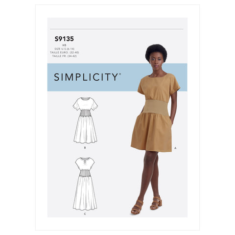 Simplicity Sewing Pattern S9135 - Misses' Dress With Knit Midriff