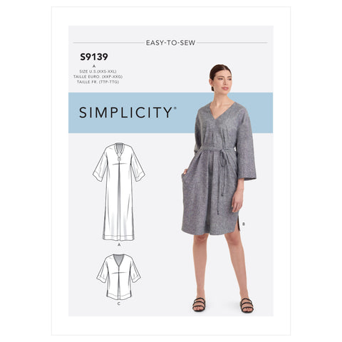 Simplicity Sewing Pattern S9139 - Misses' Relaxed V-Neck Dresses