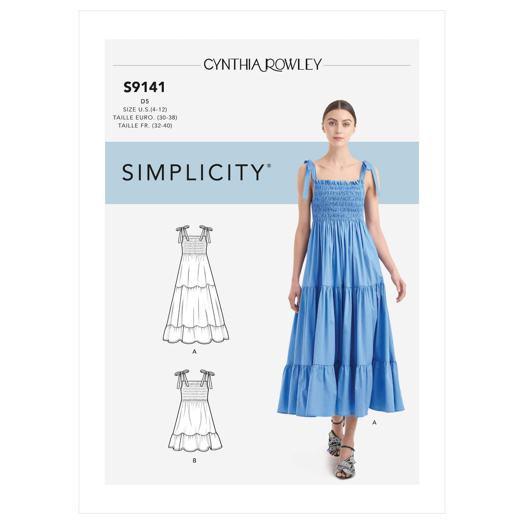Simplicity Sewing Pattern S9141 - Misses' Dress With Shirred Bodice