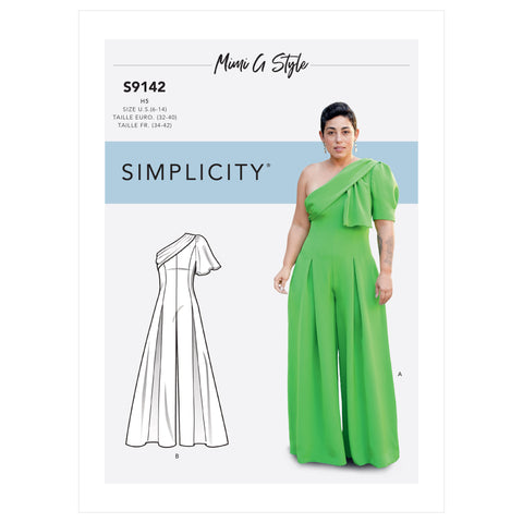 Simplicity Sewing Pattern S9142 - Misses' Jumpsuit With One Shoulder Drape