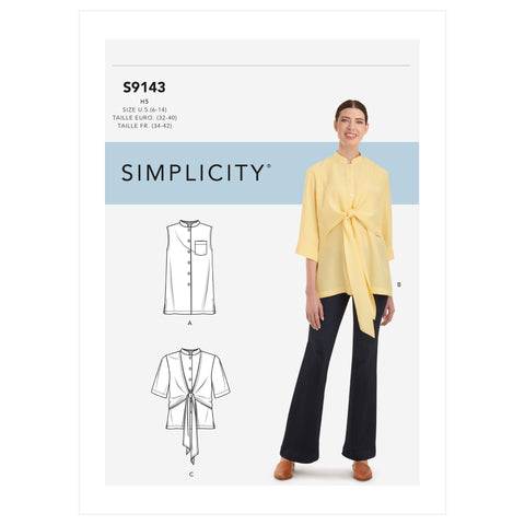 Simplicity Sewing Pattern S9143 - Misses' Top With Optional Draped Front