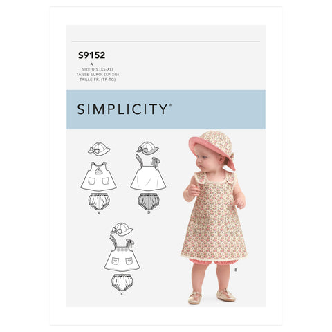 Simplicity Sewing Pattern S9152 -Babies' Dress, Panties & Hat