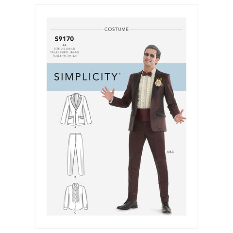 Simplicity Sewing Pattern S9170 - Men's Tuxedo Costumes