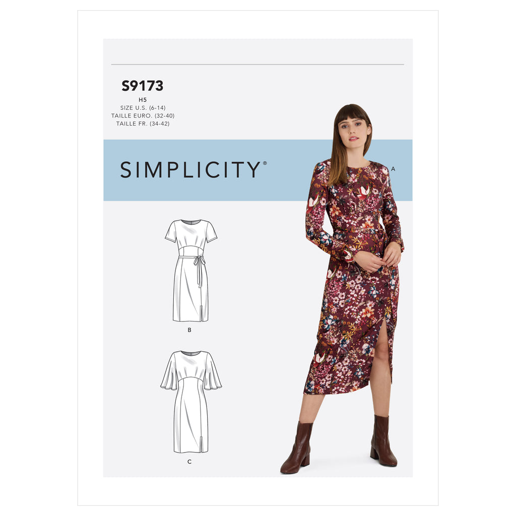 Simplicity Sewing Pattern S9173 - Misses' Dress With Length & Sleeve Variations