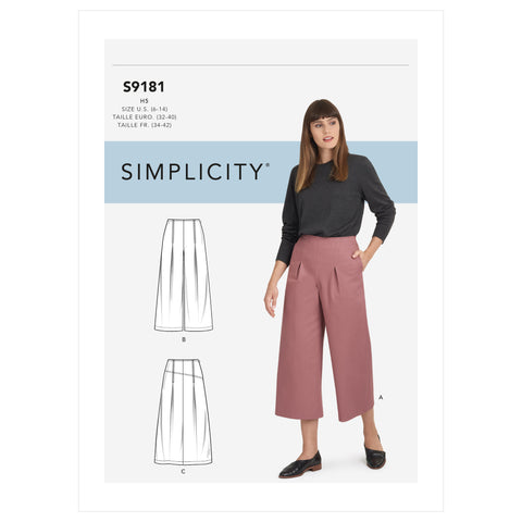 Simplicity Sewing Pattern S9181 - Misses' Cropped Pants & Skirt