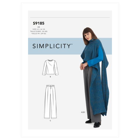 Simplicity Sewing Pattern S9185 - Misses' Knit Top, Pants & Knit Cape