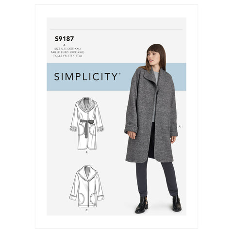 Simplicity Sewing Pattern S9187 - Misses' Jacket & Coats