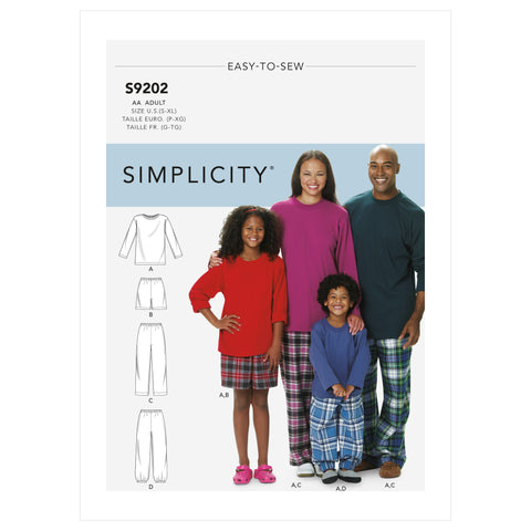 Simplicity Sewing Pattern S9202 - Misses'/Men's/Children's/Boys'/Girls' T-Shirt, Shorts and Pants