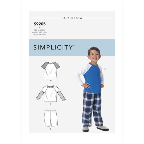 Simplicity Sewing Pattern S9205 - Children's/Boys' Raglan Sleeve Tops, Shorts and Pants