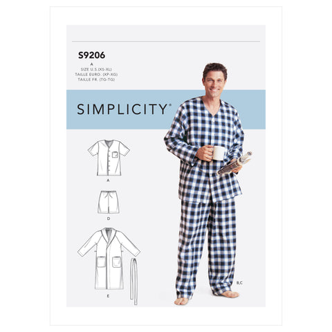 Simplicity Sewing Pattern S9206 - Men's Robe, Belt, Tops, Pants and Shorts
