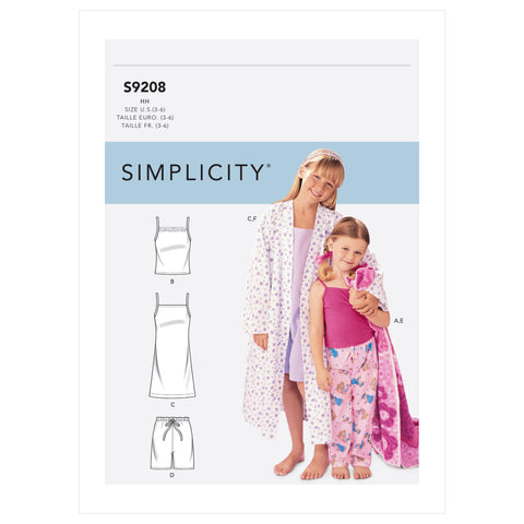 Simplicity Sewing Pattern S9208 - Children's/Girls' Robe, Belt, Tops, Gown, Shorts and Pants