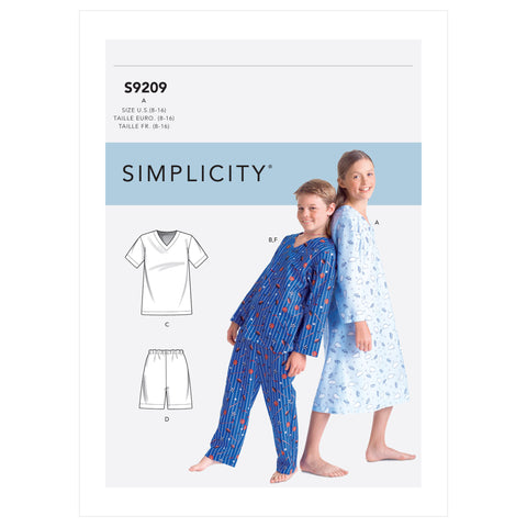Simplicity Sewing Pattern S9209 - Boys'/Girls' V-Neck Shirts, Gown, Shorts and Pants
