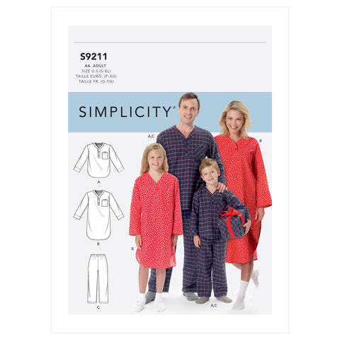Simplicity Sewing Pattern S9211 - Misses'/Men's/Boys'/Girls' Patch Pocket Top, Nightshirt and Pants