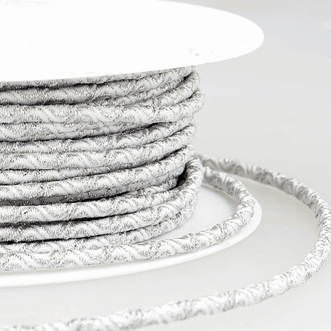 3mm Decorative Elastic Cord - White/Silver