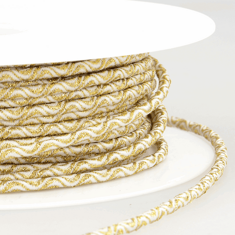 3mm Decorative Elastic Cord - White/Gold