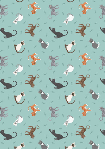 Lewis & Irene Small Things Pets - Cats Light Blue - 100% Cotton Fabric
