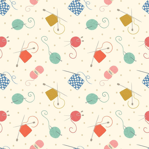 Lewis & Irene Small Things Crafts - Knitting & Crochet Cream - 100% Cotton Fabric
