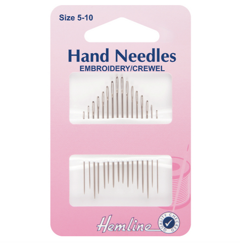 Hemline Embroidery/Crewel Needles Size 5-10