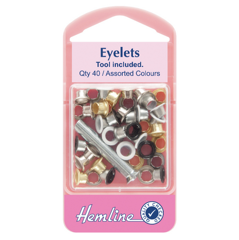 Hemline Eyelets with Tool 5.5mm - Assorted