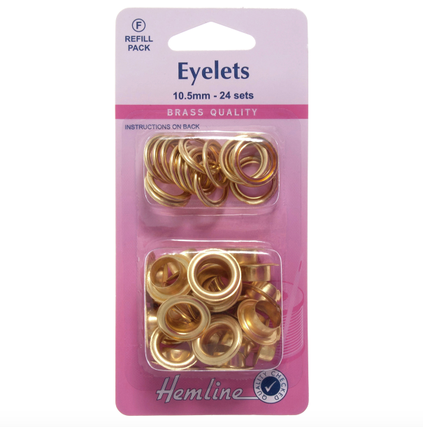Hemline Eyelets Refill Pack 10.5mm - Gold/Brass