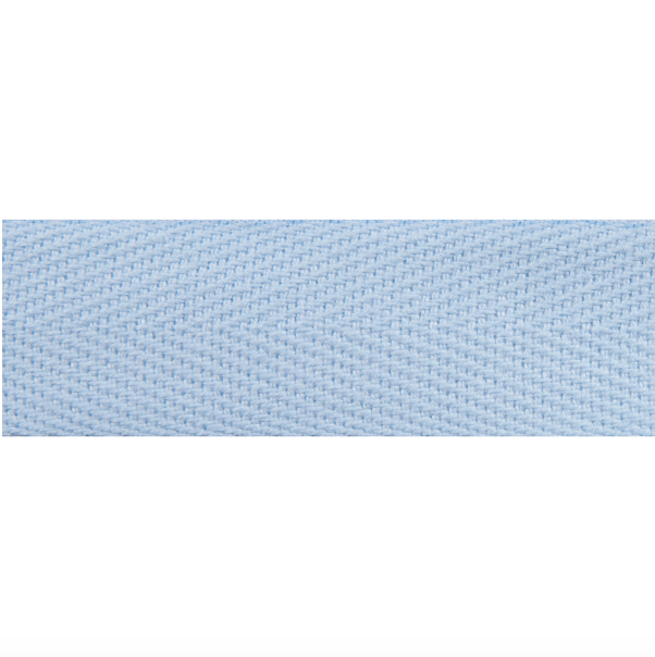 20mm Herringbone Cotton Tape - Light Blue