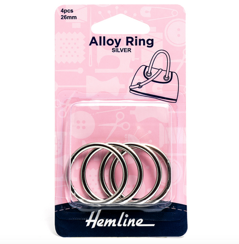 Hemline 26mm Alloy Rings - Silver