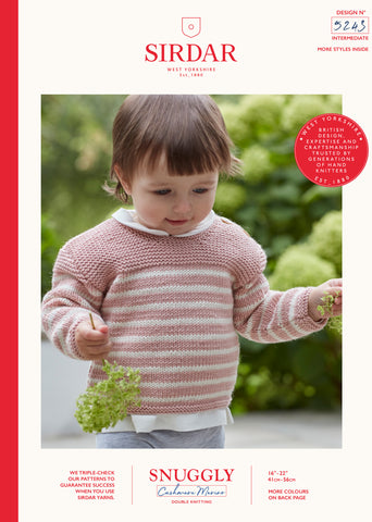 Sirdar Snuggly Cashmere Merino Knitting Pattern - 5243 Baby Striped Sweater