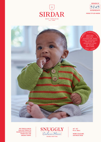Sirdar Snuggly Cashmere Merino Knitting Pattern - 5245 Baby Polo Sweater