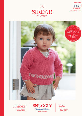 Sirdar Snuggly Cashmere Merino Knitting Pattern - 5251 Baby Sweater