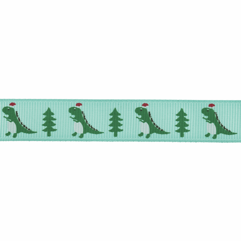 15mm Dinosaurs Christmas Ribbon