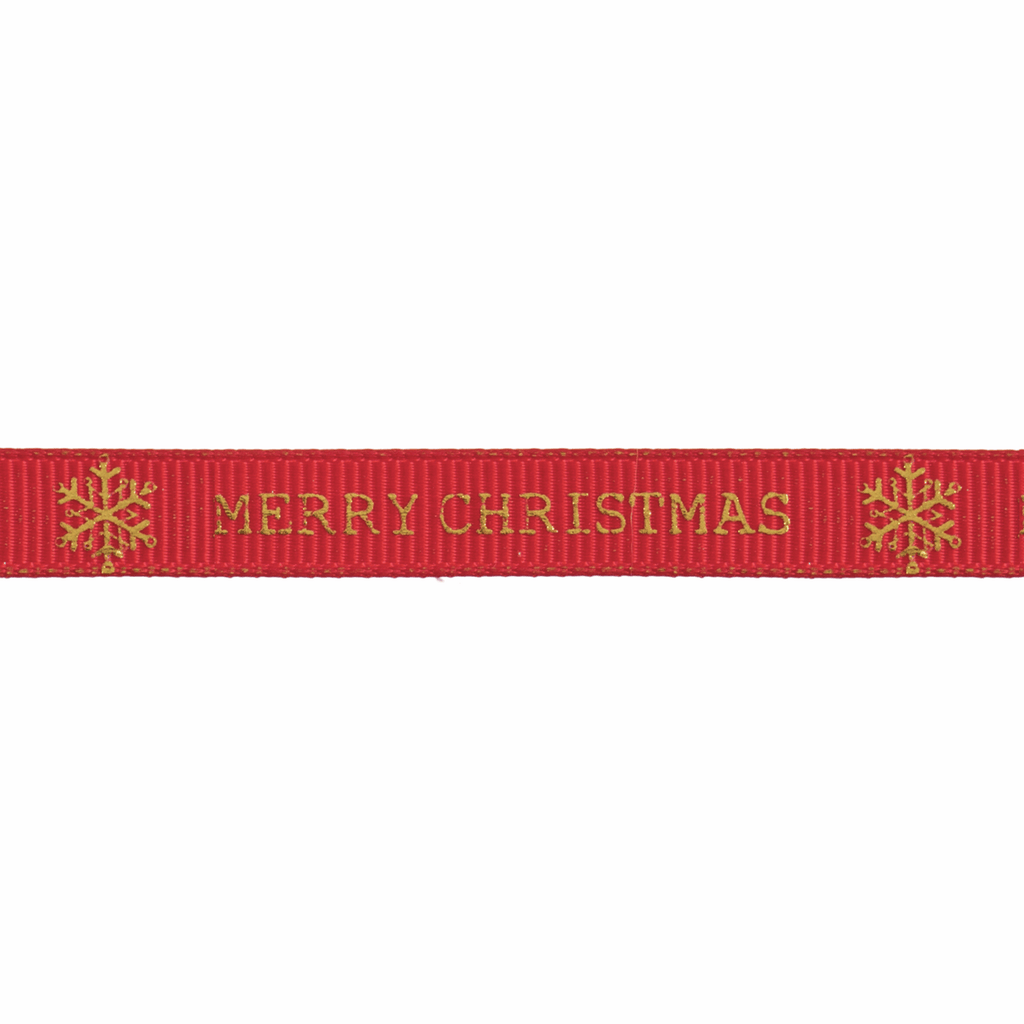 10mm Red/Gold Merry Christmas Snowflake Ribbon