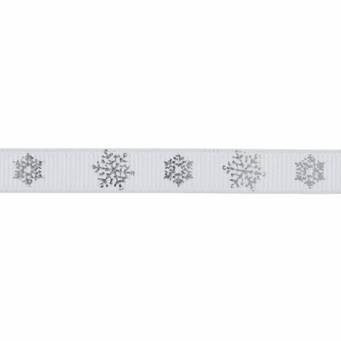 10mm White/Silver Snowflake Ribbon