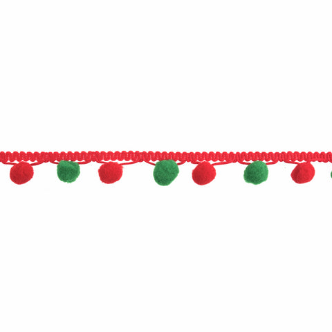 25mm Pom Pom Trim - Red/Green