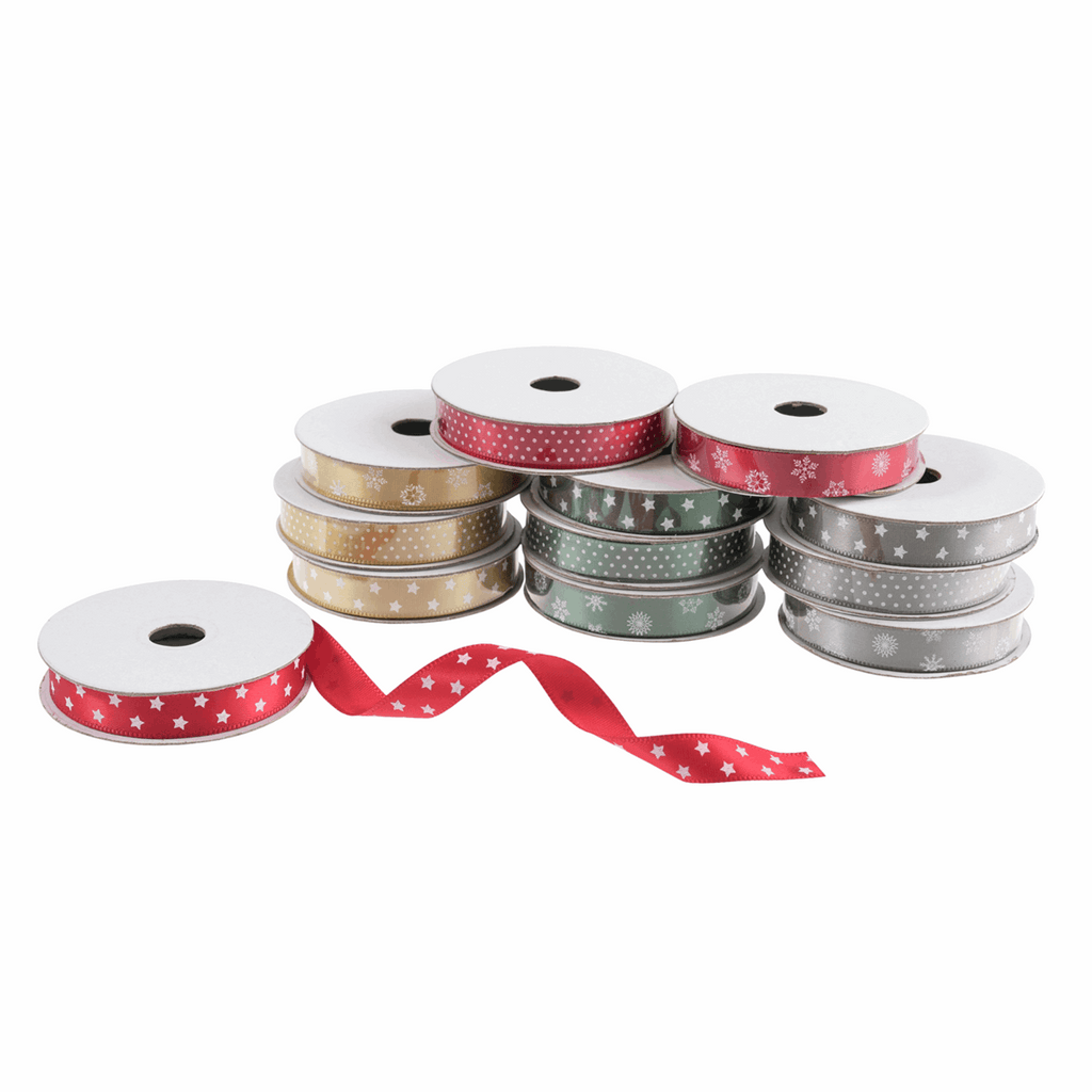 Christmas Printed Satin Ribbon Bag 12pk