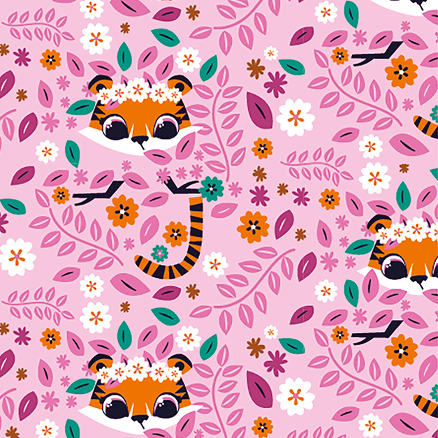 Tiger Floral Pink Cotton Jersey Fabric