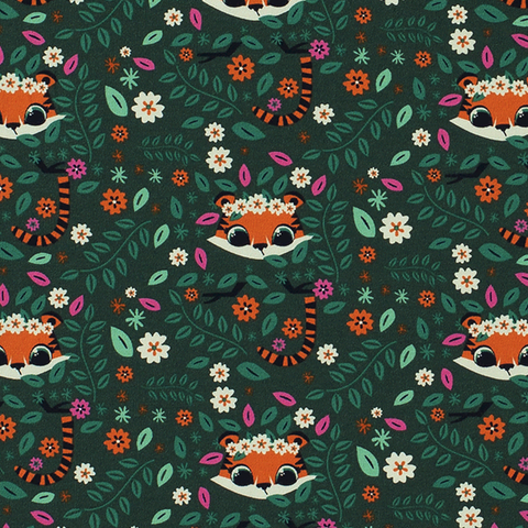 Tiger Floral Cotton Jersey Fabric