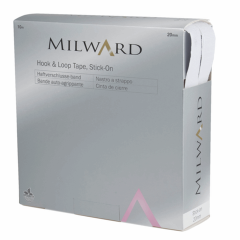 Milward 20mm Stick-on Hook & Loop Tape - White